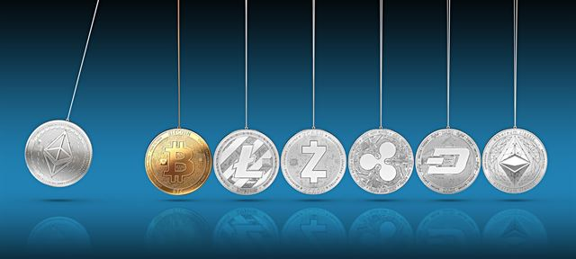 Crossed cryptocurrency vs blockchain.